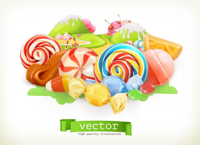 Negozio dolce Terra di Candy vettore 3d illustrazione vettoriale