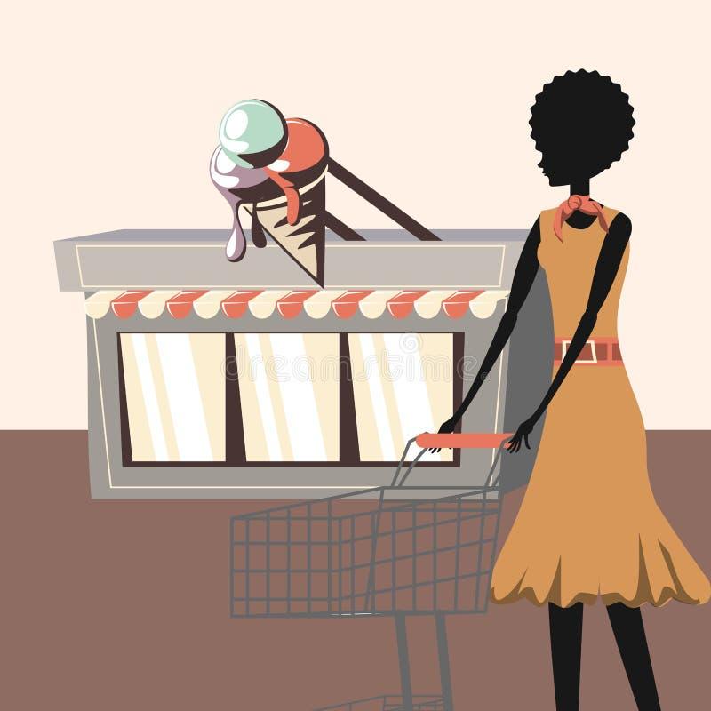 Negozio e donna di gelato con retro stile del carrello illustrazione vettoriale