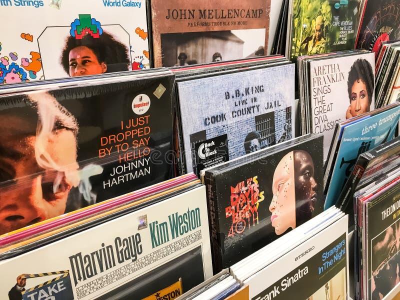 Negozio famoso di media di musica di Jazz Music For Sale In immagini stock libere da diritti