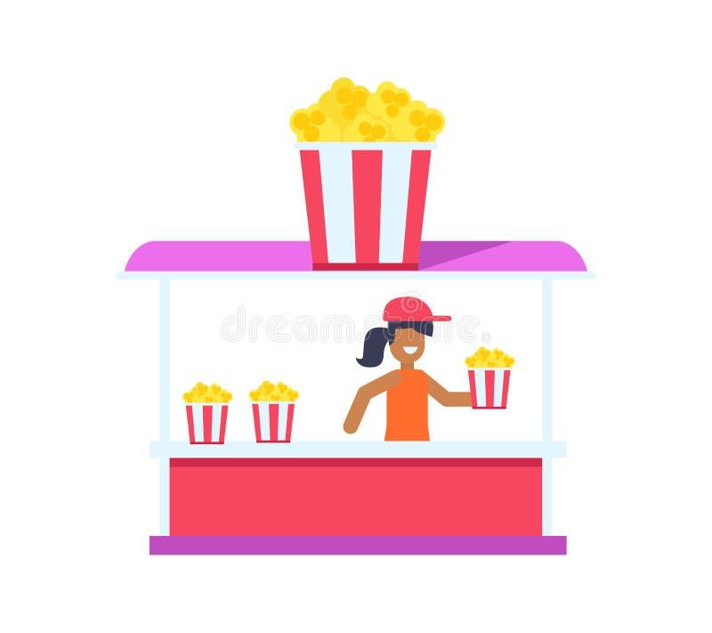 Negozio grazioso del popcorn, carta di colore isolata su bianco illustrazione vettoriale