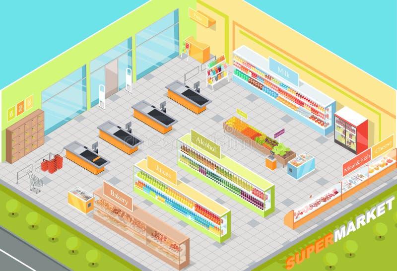 Negozio isometrico interno 3d di dipartimenti del supermercato royalty illustrazione gratis