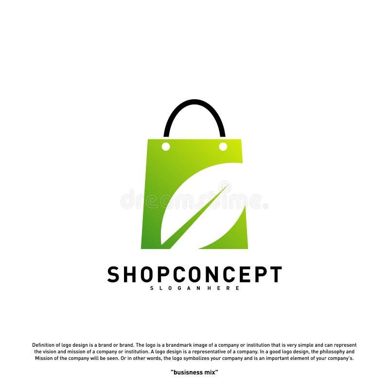 Negozio Logo Design Concept della natura Centro commerciale con la foglia Logo Vector Simbolo dei regali e del negozio royalty illustrazione gratis