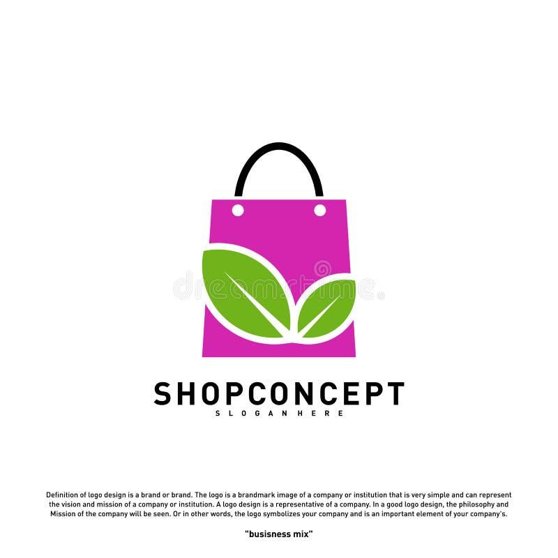 Negozio Logo Design Concept della natura Centro commerciale con la foglia Logo Vector Simbolo dei regali e del negozio illustrazione di stock