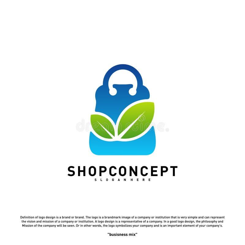 Negozio Logo Design Concept della natura Centro commerciale con la foglia Logo Vector Simbolo dei regali e del negozio illustrazione vettoriale