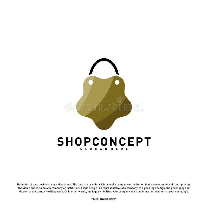 Negozio Logo Design Concept della stella Centro commerciale Logo Vector Simbolo dei regali e del negozio illustrazione vettoriale