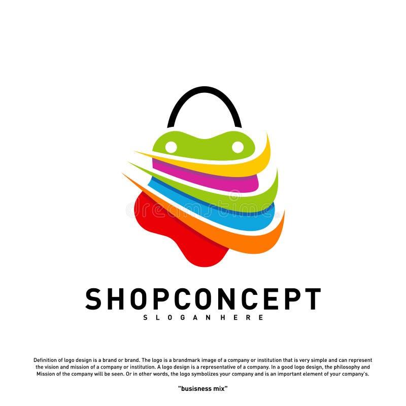 Negozio Logo Design Concept della stella Centro commerciale Logo Vector Simbolo dei regali e del negozio illustrazione di stock