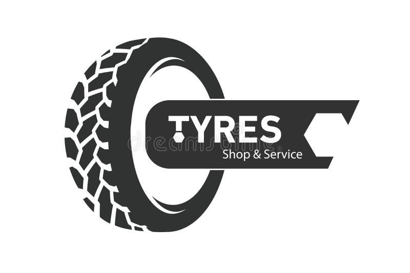 Negozio Logo Design di Tiro I pneumatici spingono l'affare che marca a caldo, icone del negozio di logo del pneumatico, icone del illustrazione di stock