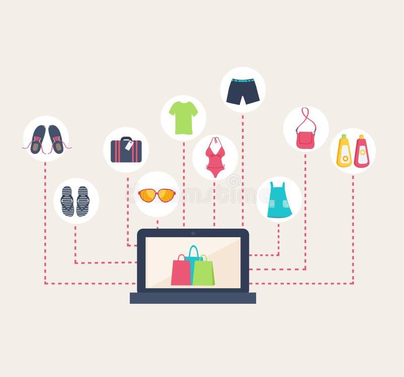 Negozio online che vende l'abbigliamento di estate immagine stock libera da diritti