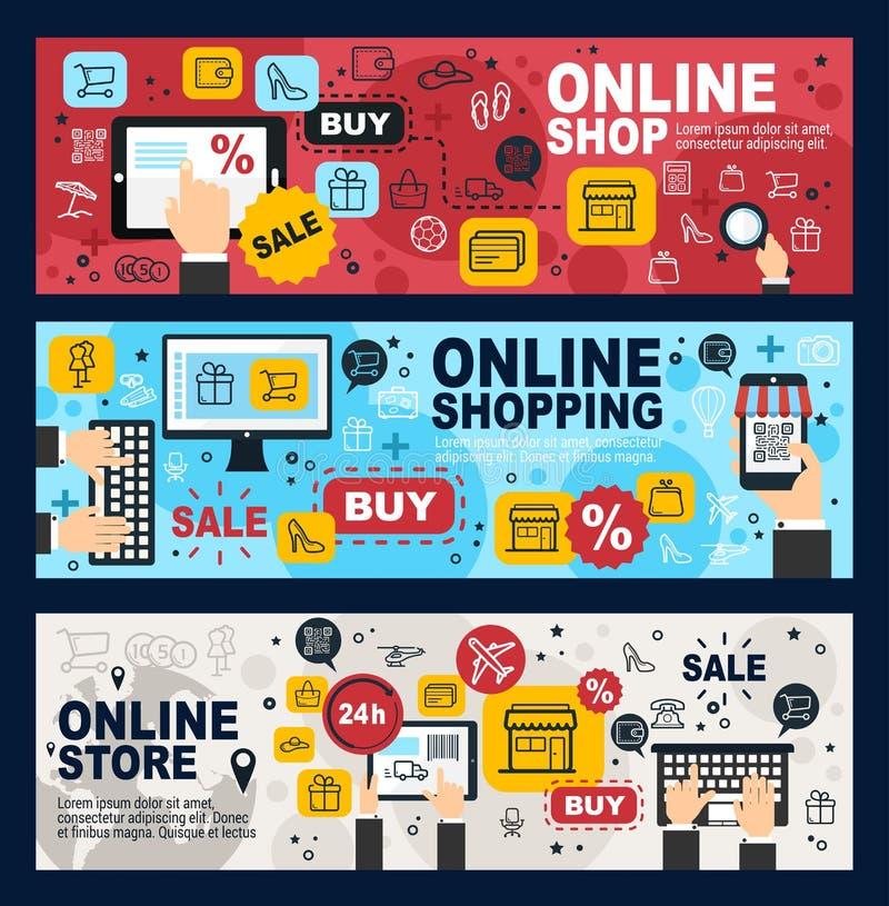 Negozio online, commercio elettronico, deposito di web e vendita al dettaglio illustrazione vettoriale