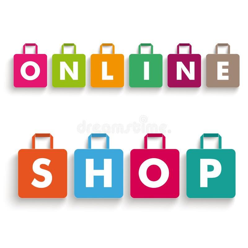 Negozio online dei sacchetti della spesa della carta colorata illustrazione vettoriale