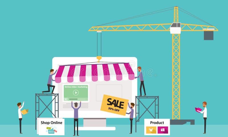 Negozio online di affari piani di vettore Crei il deposito online affare della gente royalty illustrazione gratis