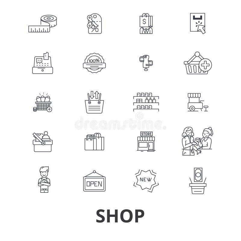 Negozio, sacchetto della spesa, centro commerciale, deposito, carrello, vendita, icone della linea centrale di acquisto Colpi edi illustrazione vettoriale