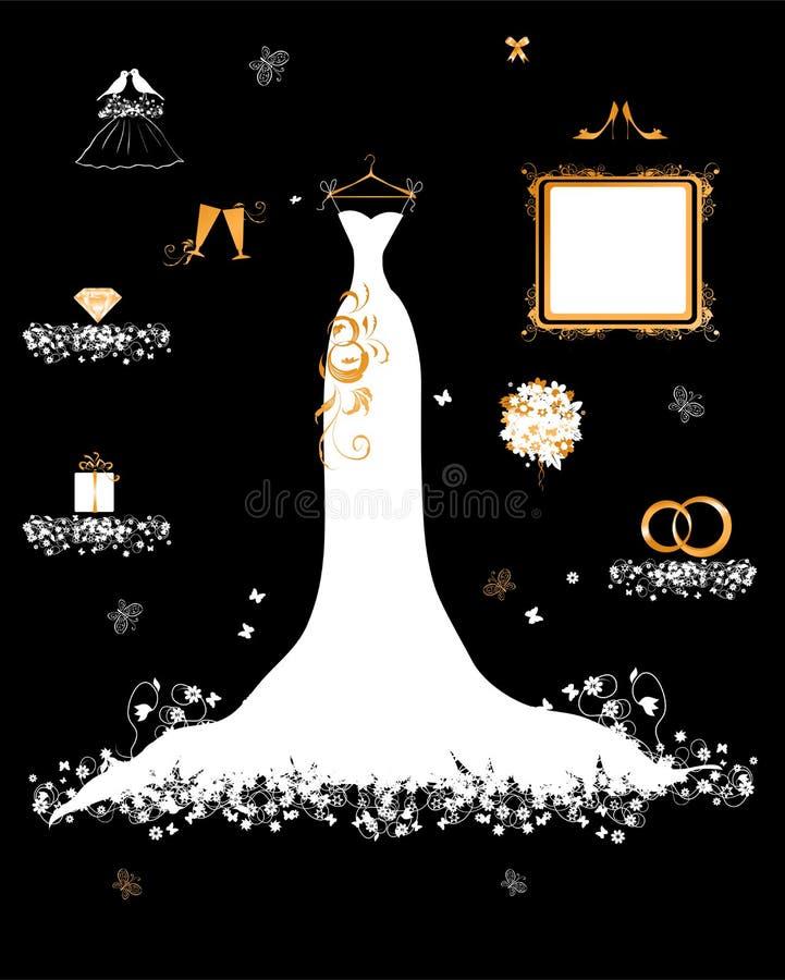 Negozio Wedding, vestito bianco ed accessorio royalty illustrazione gratis