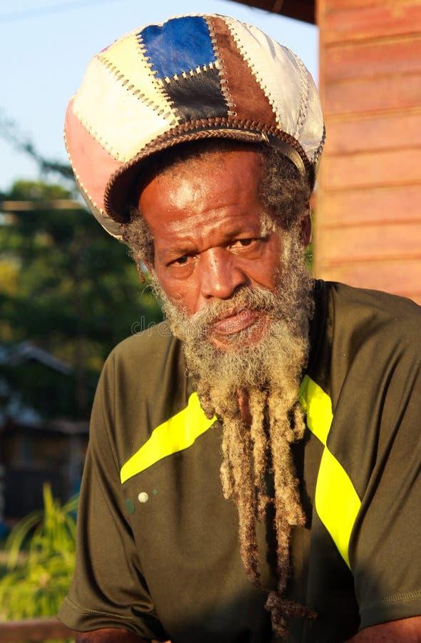 NEGRIL, JAMAICA - 24 DE MAYO 2010: Retrato del hombre del rasta con la barba, los dredlocks y el rastacap imagen de archivo libre de regalías