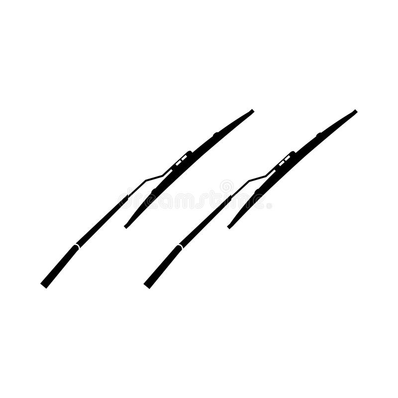 Negro aislado icono del vector de los limpiaparabrisas stock de ilustración