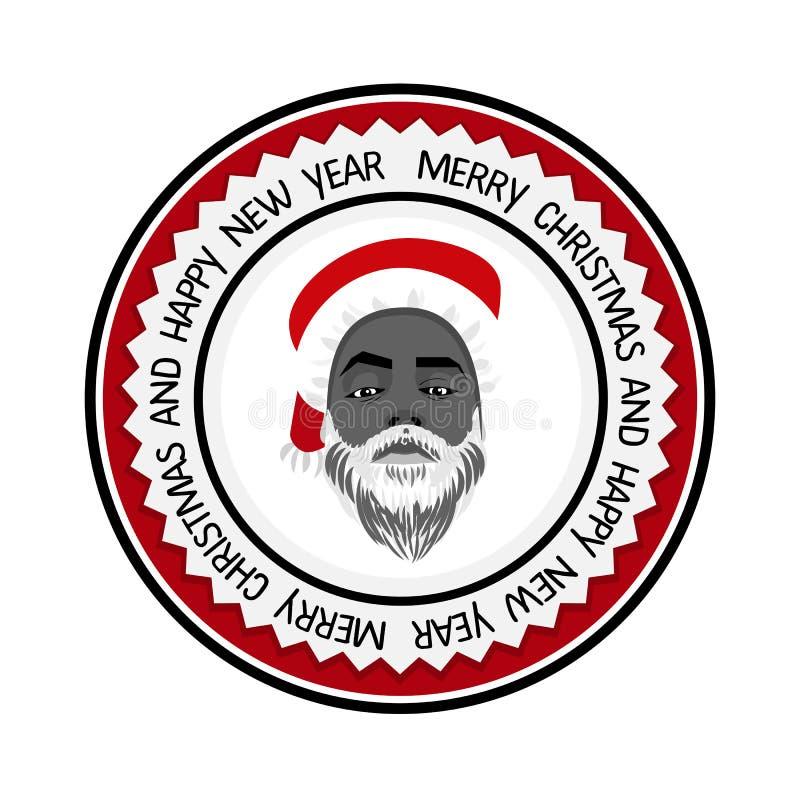 Negro atrevido plano monocromático Santa Claus del inconformista ilustración del vector