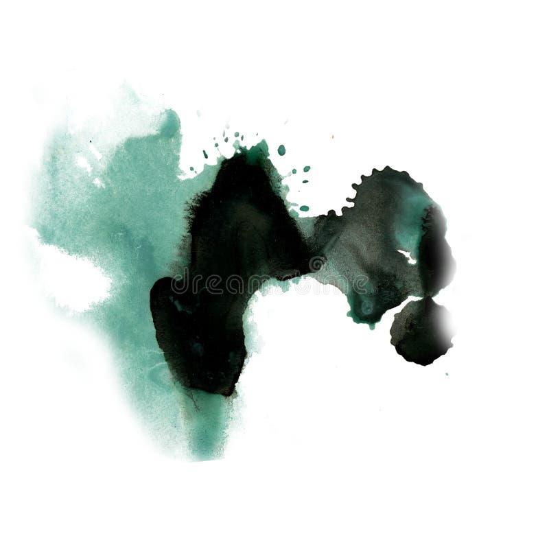 Negro azul de la acuarela del tinte del watercolour de la salpicadura de la tinta del punto de la textura macra líquida de la man ilustración del vector