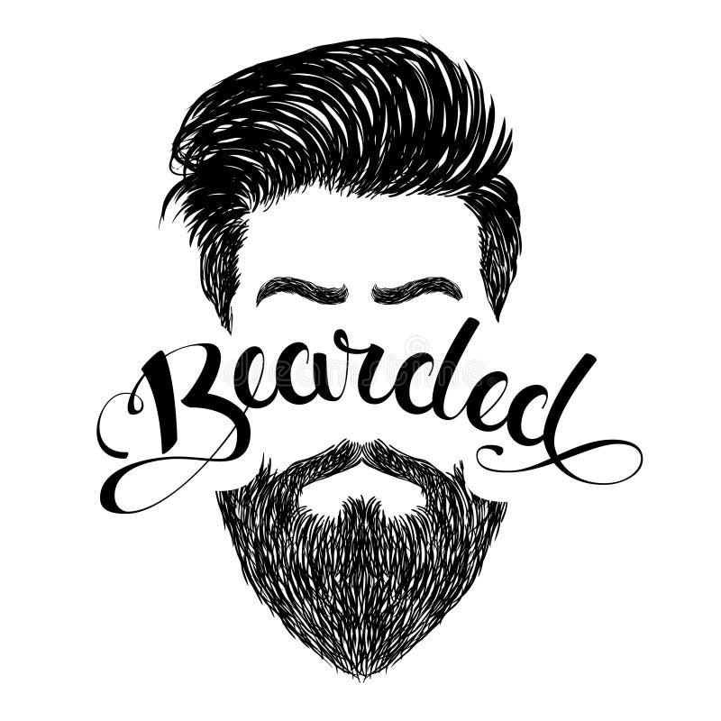 Negro barbudo del logotipo ilustración del vector