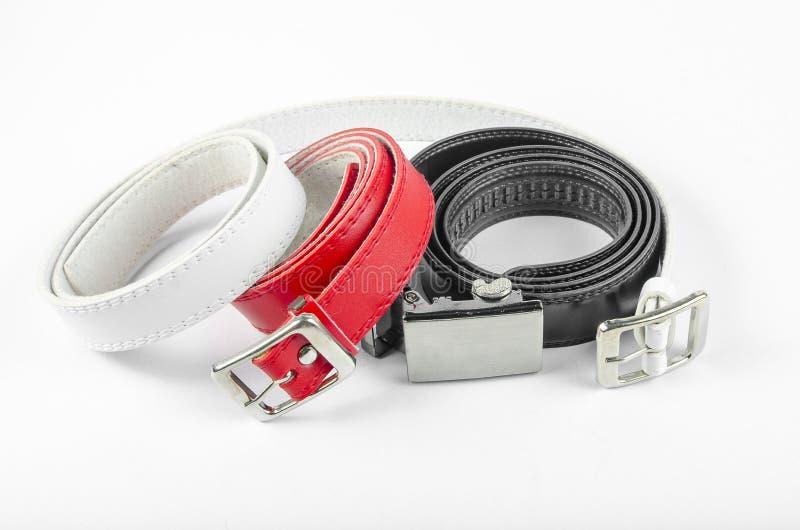Negro blanco rojo de la correa imagen de archivo libre de regalías