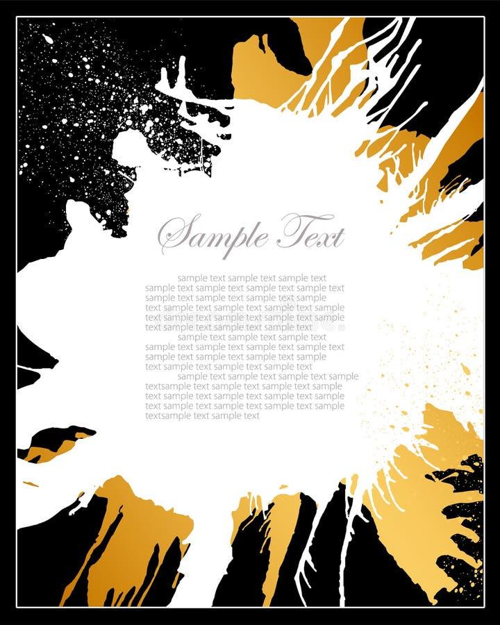 Negro, blanco y fondo del grunge del oro stock de ilustración
