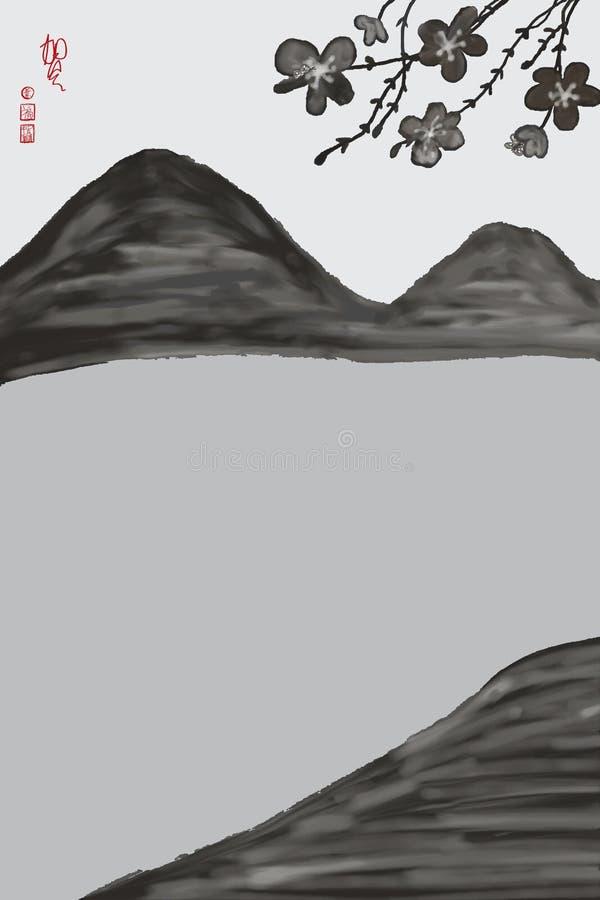 Negro chino de la acuarela del paisaje ilustración del vector