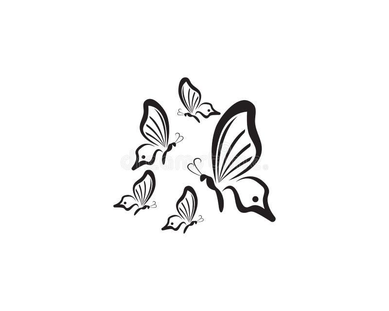 Negro creativo del diseño del logotipo del extracto de la mariposa ilustración del vector