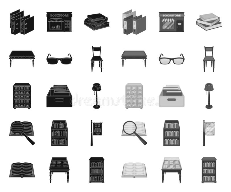 Negro de la biblioteca y de la librer?a r Libros y web de la acci?n del s?mbolo del vector del mobiliario libre illustration