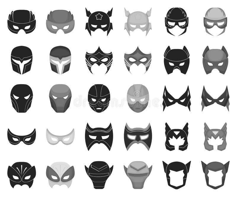 Negro de la máscara del carnaval, iconos monocromáticos en la colección determinada para el diseño Máscara en los ojos y el web d ilustración del vector