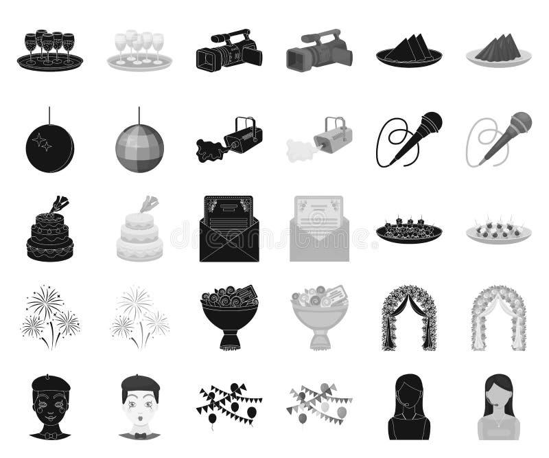 Negro de la organización del acontecimiento, iconos monocromáticos en la colección determinada para el diseño Acción del símbolo  ilustración del vector