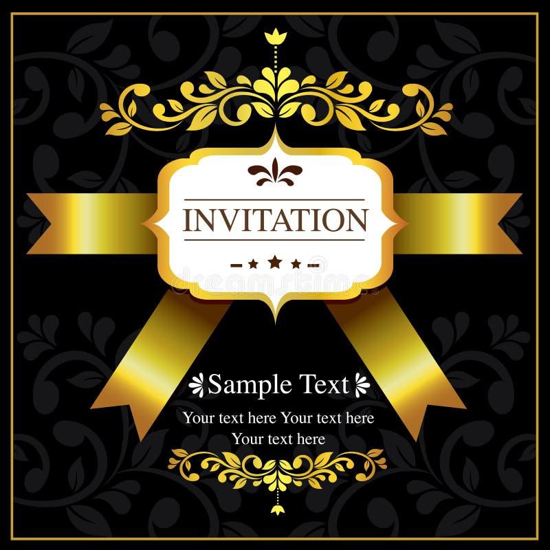 Negro de la tarjeta de la invitación y estilo del oro ilustración del vector