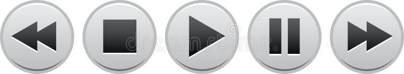 Negro de los botones de pausa de la parada del juego ilustración del vector