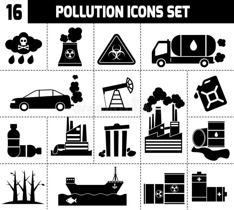 Negro de los iconos de la contaminación libre illustration