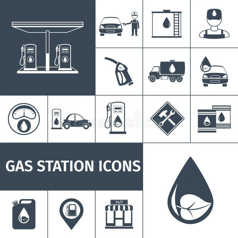Negro de los iconos de la gasolinera libre illustration