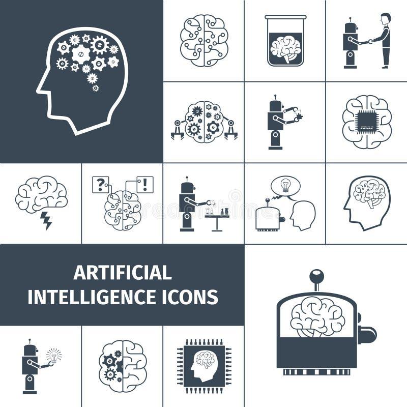 Negro de los iconos de la inteligencia artificial libre illustration