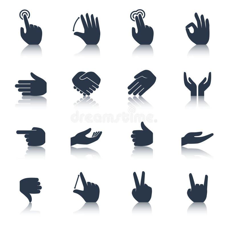 Negro de los iconos de la mano stock de ilustración