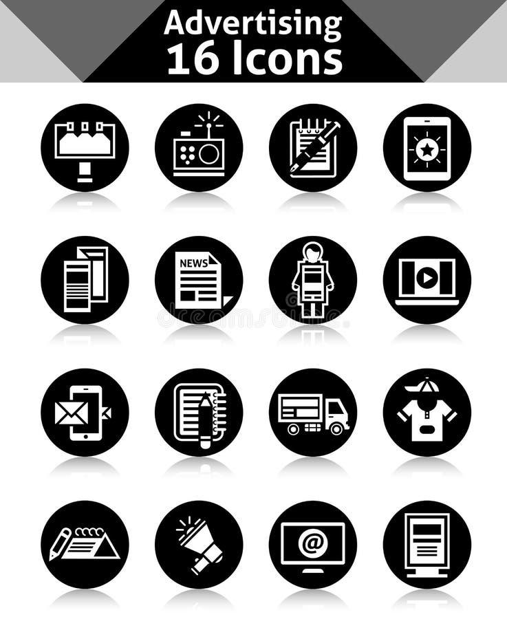 Negro de los iconos de la publicidad stock de ilustración