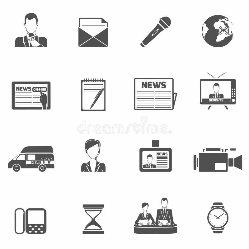 Negro de los iconos de las noticias stock de ilustración