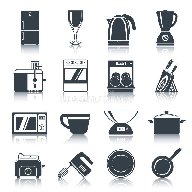 Negro de los iconos de los dispositivos de cocina ilustración del vector