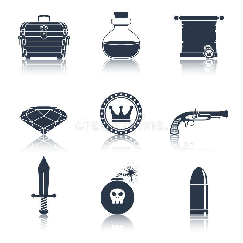 Negro de los iconos de los recursos del juego stock de ilustración