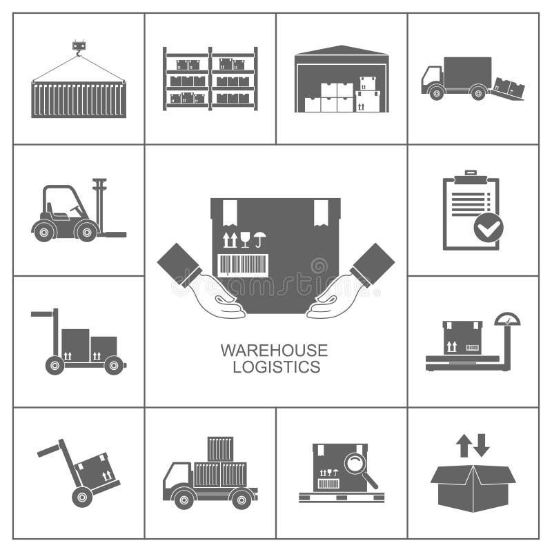 Negro de los iconos de Warehouse ilustración del vector