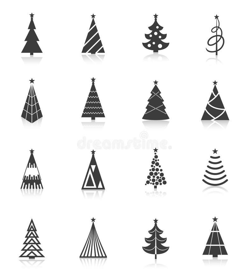 Negro de los iconos del árbol de navidad stock de ilustración