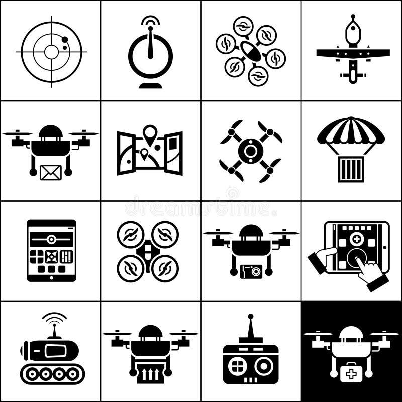 Negro de los iconos del abejón ilustración del vector