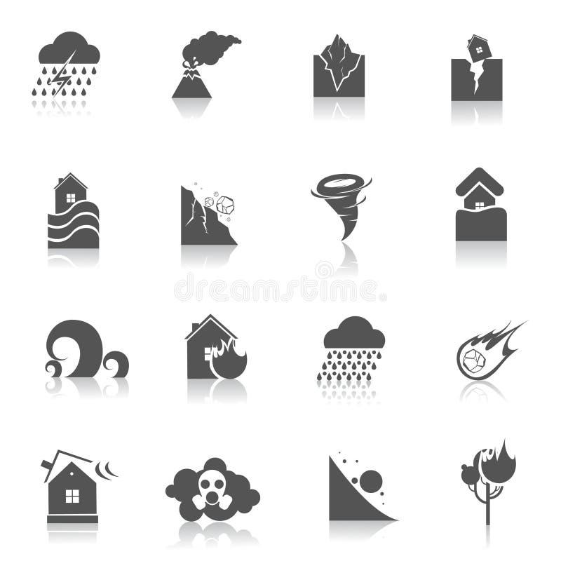 Negro de los iconos del desastre natural ilustración del vector