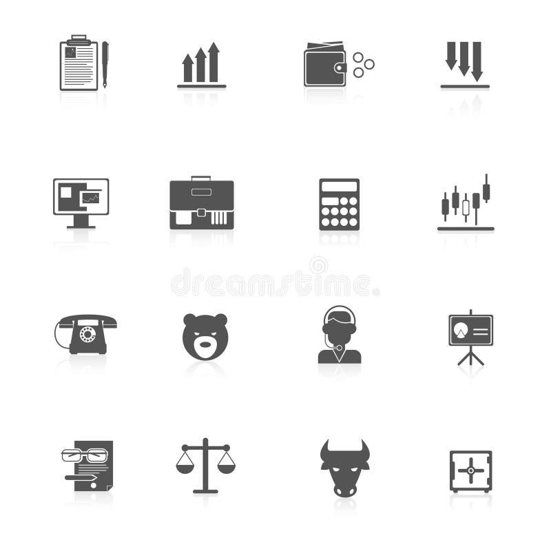 Negro de los iconos del intercambio de las finanzas stock de ilustración