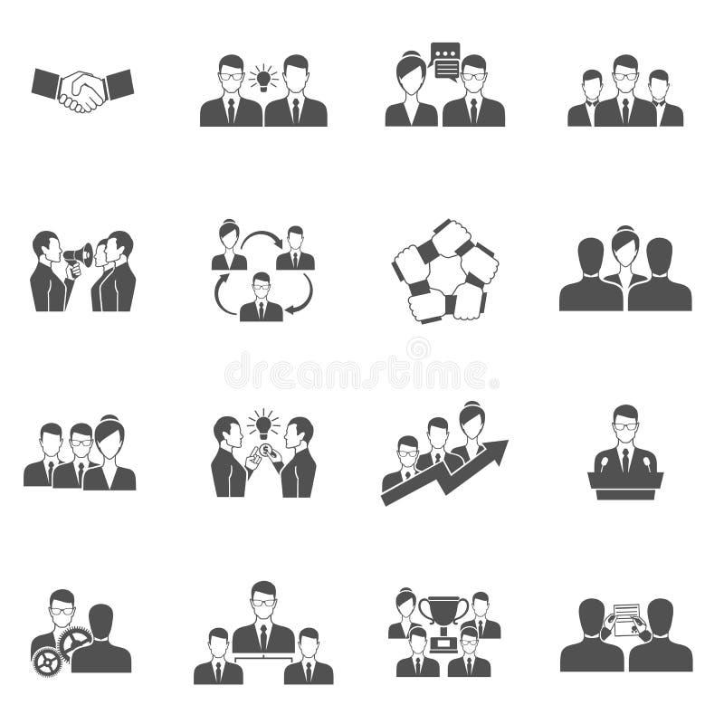 Negro de los iconos del trabajo en equipo libre illustration