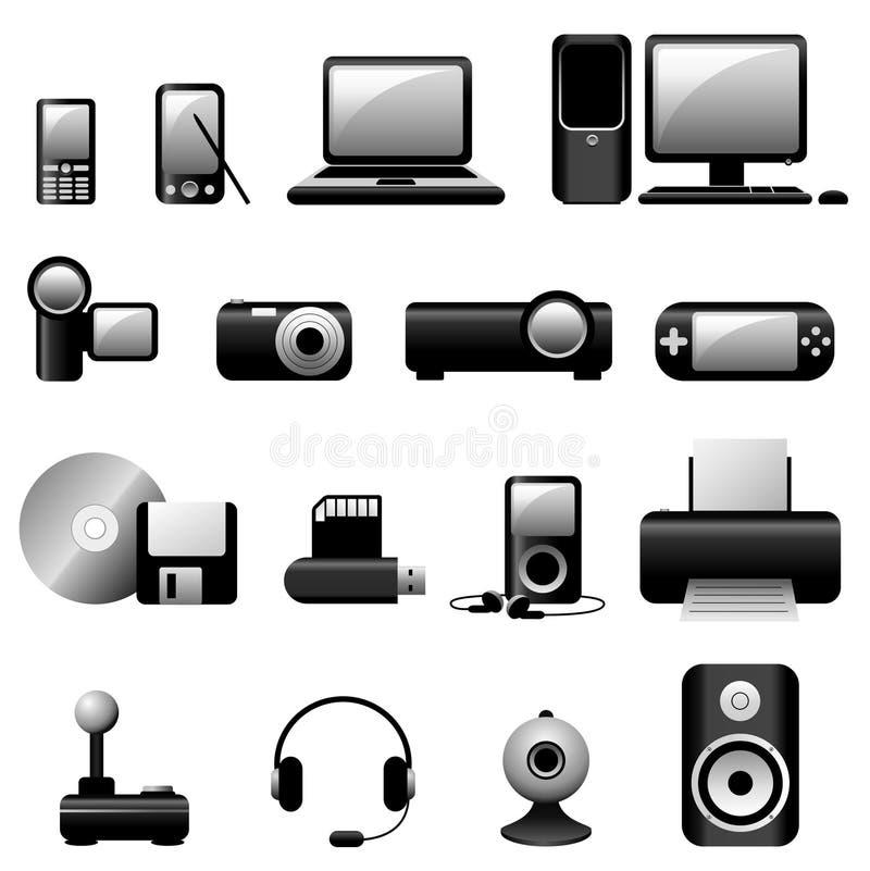 Negro de los iconos del vector de los multimedia ilustración del vector