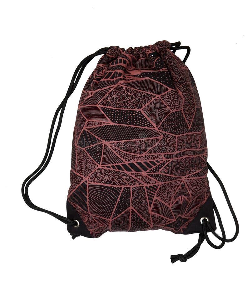 Negro de moda del bolso del deporte de la mochila y redisolated en blanco foto de archivo libre de regalías