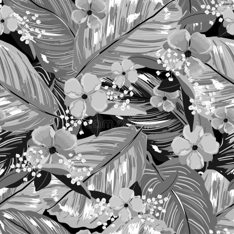 Negro de Monotowne y modelo inconsútil gris en la capa exótica hermosa del vector de hojas del verano y de flores florecientes am stock de ilustración