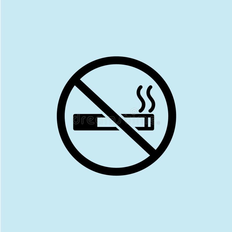 negro de no fumadores del icono con el fondo azul ilustración del vector