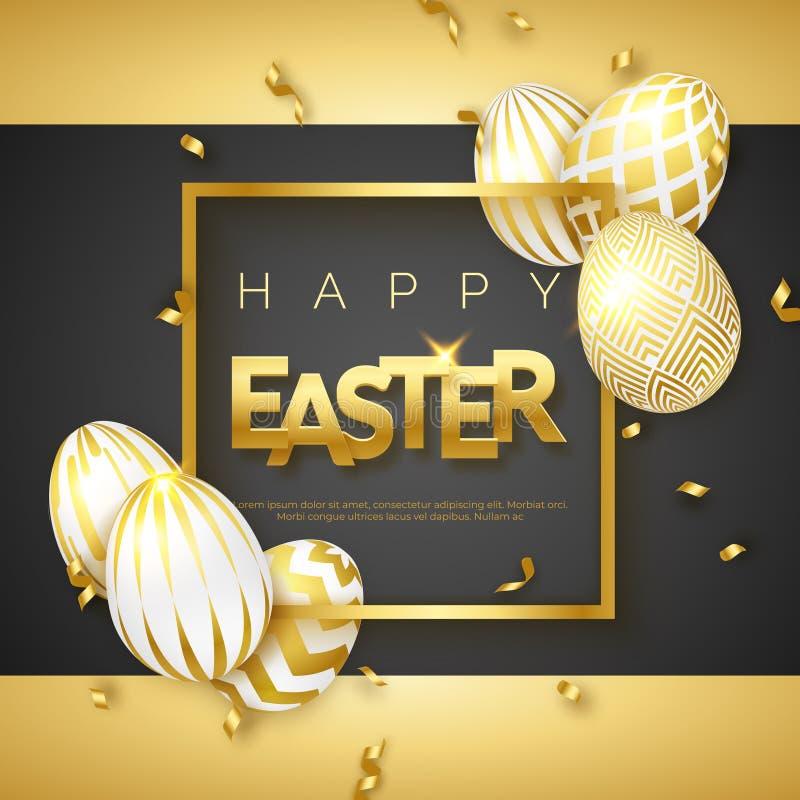 Negro de Pascua y fondo del oro con los huevos, el marco, el texto y las cintas adornados de oro realistas Ilustración del vector libre illustration